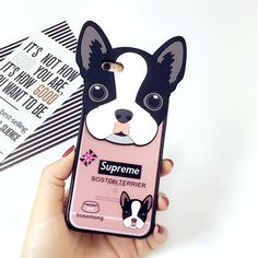Cute Dog Paw 3D Silicone Back Case Cover Boston Terrier Dog For iPhone 6 6s Rubber Case