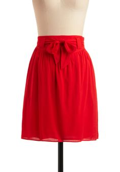 homemade b-red skirt - #modcloth pretty, love the bow