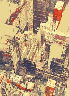 Color accents keep your eye moving, busy, but kept simple with color - Atelier Olschinsky