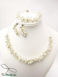 Meska - Szőlő szett esküvőre Swarovski gyöngyből  Edina09 kézművestől Pearl Necklace, Pearls, Jewelry, Fashion, Moda, String Of Pearls, Bijoux, Jewlery