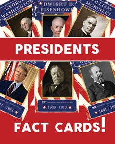 Presidents – 4×6 educational cards. This is the perfect time to teach about our presidents!