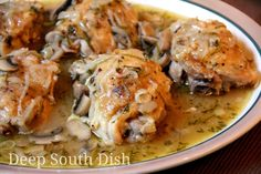 Braised Chicken Thighs with Onions and Mushrooms - Chicken thighs, seasoned with salt, pepper, Cajun seasoning and rosemary, cooked with… Braised Chicken Thighs, Chicken Thighs Mushrooms, Stewed Chicken, Baked Chicken, Chicken Wings, Mushroom And Onions, Mushroom Chicken, Rosemary Chicken, Mushroom Stew