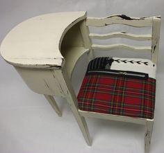 Hand Painted Upholstered Punk British Vintage Telephone Table Seat. $160.00, via Etsy.