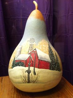 Red Country Barn Winter Day Gourd