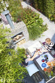 Stadstuin, groene buitenkamers in lijn – StyleGardens Picnic Blanket, Outdoor Blanket, Ecology, Bbq, Backyard, How To Plan, Court Yard, Outdoor Decor, Envy