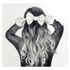 17 Best Photos of Bow Pencil Hair Drawings - Tumblr Drawing Girl Hair... ❤ liked on Polyvore featuring drawings