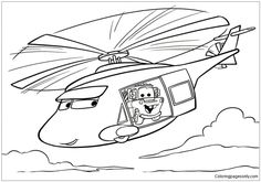 Cars In Helicopter Coloring Page Coloringpagesonly Pages