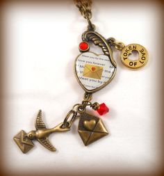Love Letter Necklace Valentine Jewelry Romantic by foreverandrea,