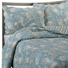 product image for Natural Shells Reversible Quilt in Blue/Beige