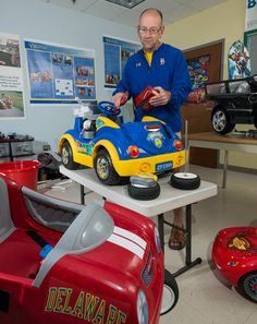 A professor at the University of Delaware is developing vehicles using battery-power cars like the Barbie Jeep to provide mobility to children who can't walk.