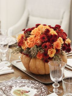 Mums and Roses in a Rustic Gourd Vase