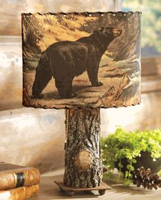 Bark Lamp w/ Bear & Moose Shade