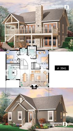 Deck Plans 716283515718937654 - Transitionl style Cottage house plan, cathedral ceilings, fireplace, large deck, unfinished walkout basement Source by undeathv Brick House Plans, Large House Plans, Porch House Plans, Sims House Plans, Open House Plans, Basement House Plans, Craftsman Style House Plans, Walkout Basement, Style Cottage
