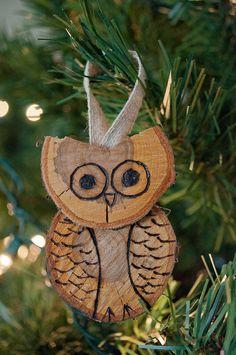 Adorable wood burned owl christmas ornament https://www.etsy.com/listing/259437358/wood-burned-ornaments