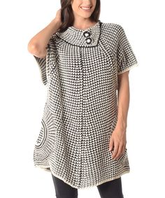 Another great find on #zulily! Shoreline White & Black Contrast-Knit Asymmetric-Collar Sweater - Plus by Shoreline #zulilyfinds