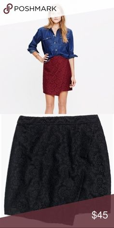 NWT Madewell BLACK lace asymmetrical mini skirt Super cute and classy but haven't gotten around to wearing it yet...perfect NWT condition. Runs truer to size than most Madewell pieces. Will add more info/pics soon! Madewell Skirts Mini