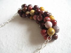 Autumn beaded necklace, Sterling silver, Fall Mookaite Cluster Necklace, autumn color palette by A Cup of Sparkle