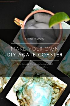 Furniture Layouts With The Lake House Diy Anthropologie Knock Off Agate Rock Coaster Using Alcohol Ink And A Ceramic Title To Create A One Of A Kind Gift To Give Coaster Furniture, Diy Furniture Projects, Diy Craft Projects, Home Crafts, Fun Crafts, Crafts For Kids, Simple Crafts, Kids Diy, Creative Crafts