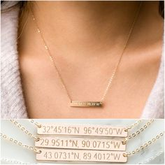 Reversible Custom Coordinates Necklace, Location GPS Coordinates, Latitude Longitude, in 14kt Gold Filled, Sterling Silver, Rose Gold Fill