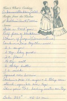 Arkansas Blackberry Cobbler from the kitchen of Debbie's Aunt Nellie Retro Recipes, Old Recipes, Vintage Recipes, Cookbook Recipes, Baking Recipes, Recipies, Family Recipes, English Recipes, Czech Recipes