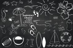 Summer Cliparts Chalkboard, Beach Clip Art, Chalk Surf, Flip Flops, Bikini, Vacation and Travel Graphics - Personal & Commercial Use