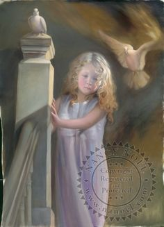 Spirit of a Twin by Nancy Noel. As this child modeled for Nancy, she noticed a light around her face and heart. She was later reminded that this little girl lost her twin at birth. Her painting is dedicated to all twins and their soul connection.