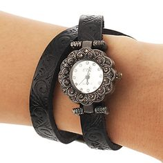 Mujeres Retro Diamante Flor PU del dial del cuarzo de la venda del reloj analógico (colores surtidos) – EUR € 11.95