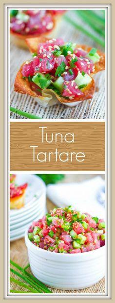 Freshly prepared tuna tartare in crispy wonton cups is a bright and elegant crowd pleasing appetizer. Tuna Tartare Recipe, Tuna Tataki, Elegant Appetizers, Wedding Appetizers, Italian Appetizers, Wonton Appetizers, Appetizer Recipes, Fish Recipes, Seafood Recipes