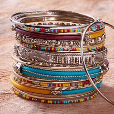 Treat your wrist to a stylish splash of color and texture from Wrist Candy. Stacked or solo, these bracelets brighten up your look with statement hues, metallic shine and bold beads. Boho Fashion, Womens Fashion, Cool Style, My Style, Love Bracelets, Comfortable Fashion, Bling Bling, African Fashion, Color Splash