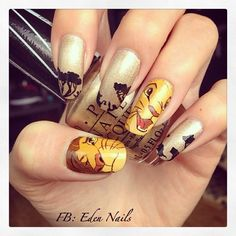 eden-nails: The lion king nail art :)! Young & adult Simba. This one of my favorite Disney. It's the first time I draw Disney's characters and finally I like it! =D Come to my Facebook page: Eden Nails :) ! #disney #nails #nailart #nailaddict #nailpolish #nailstagram #simba #thelionking #lionking #leroilion #mufasa #pumba #timon #nala #lion #opi