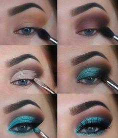 The Ultimate Full-Face Drugstore Makeup Guide For Beauty Addicts - Schminke - Eye Make up Eye Makeup Steps, Natural Eye Makeup, Natural Eyes, Blue Eye Makeup, Makeup With Glitter, Sparkle Makeup, Blue Makeup Looks, Sleek Makeup, Glitter Hair