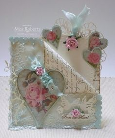 Stunning handmade card with vintage style. A lot of layers and details. I especially love the hearts with roses.  Prior Pin: allthingsmoz.blogspot.com - Vintage card for Sugar Creek Hollow DT