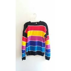Vintage Ocean Pacific Op Colorful Rainbow Striped Knit Thick Chunky Sweater Medium