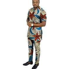 African clothing men's print set short sleeve shirt with trouser Ankara fashion pant sets customize wedding male formal outfits - AliExpress Nigerian Men Fashion, Ankara Fashion, African Men Fashion, Mens Fashion, Styles Ankara, African Clothing For Men, Formal Outfits, Men Design, Fashion Pants