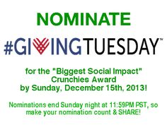"""3 Days Left to Nominate #GivingTuesday for """"Biggest Social Impact"""" Award!"""