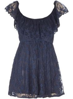 Glamorous Navy Lace Skater Dress
