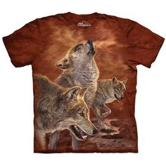 RED GLOW WOLVES Wolf T-Shirt Howlin Wolfpack Mens Sizes S-5XL NEW! #TheMountain #GraphicTee #wolf #wolves #wolfpack #wolfart