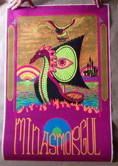 #70s #vintage poster minas morgul 1972 psychedelic black light rare