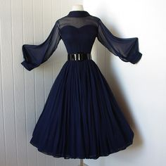 beautiful navy silk chiffon full skirt bombshell dress with pintucked nude illusion bodice and billowing sleeves .a true classic - Cute Prom Dresses, Elegant Dresses, Pretty Dresses, Beautiful Dresses, Dresses Dresses, Casual Dresses, Teen Fashion Outfits, Mode Outfits, Dress Outfits