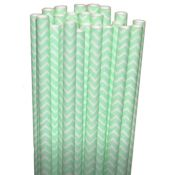Chevron Mint Light Green Paper Party Straws