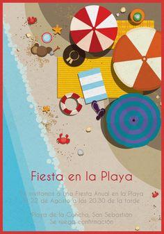 Invitacion de cumpleaños infantil playa arena mar