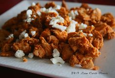 Buffalo-flavored chicken or turkey, make-ahead for the freezer, to throw in salads or into a wrap.