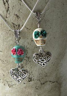 Sugar Skull and Heart  Handmade Pendant by bdzzledbeadedjewelry, $19.00