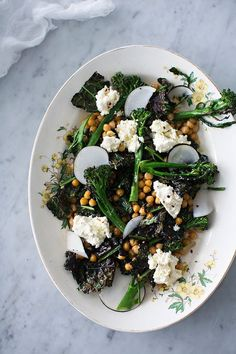 Purple sprouting broccoli, chick pea, beetroot and ricotta salad.