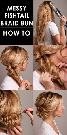 Gorgeous Messy Fishtail Braid Prom Updo 2015 – Tutorial step by step.
