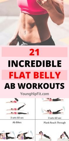 Flat belly ab workouts. 21 incredibly effective ab routines with something perfect for everyone! All levels of fitness. Check out all 21 ab exercise routines by reading this article!