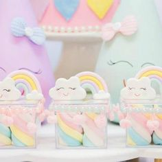 Discover thousands of images about Chuva de amor! Rainbow Theme, Rainbow Birthday, Unicorn Birthday Parties, Baby Birthday, Cloud Party, Baby Shower, Marianne Design, Baby Sprinkle, First Birthdays