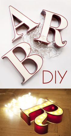 DIY: lichtgevende letters / www.woonblog.be