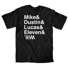 A version of the famous helvetica shirts naming the main characters from…