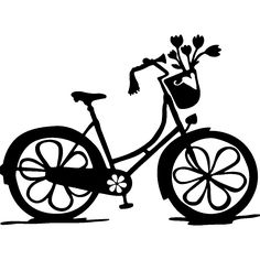 Wall decal Floral bike